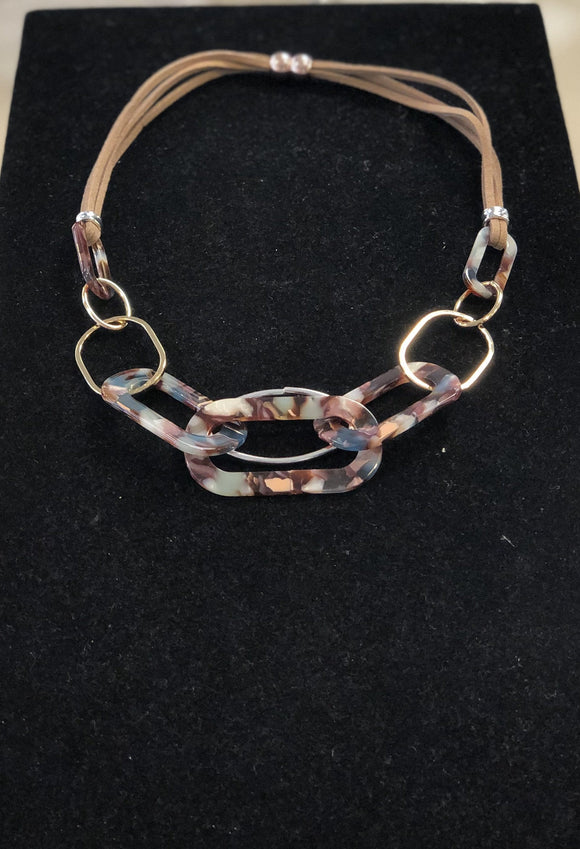 Chunky Chain and Brown Leather Necklace Jewellery