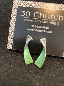 Curved Earrings- Green and Silver