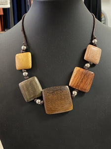 Multi-Colored Wooden Squares Necklace