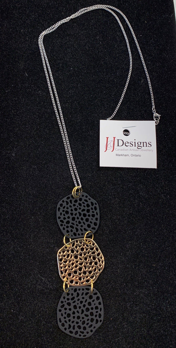 Artisan Elongated Necklace with a Sliver Black & Gold Design Jewellery