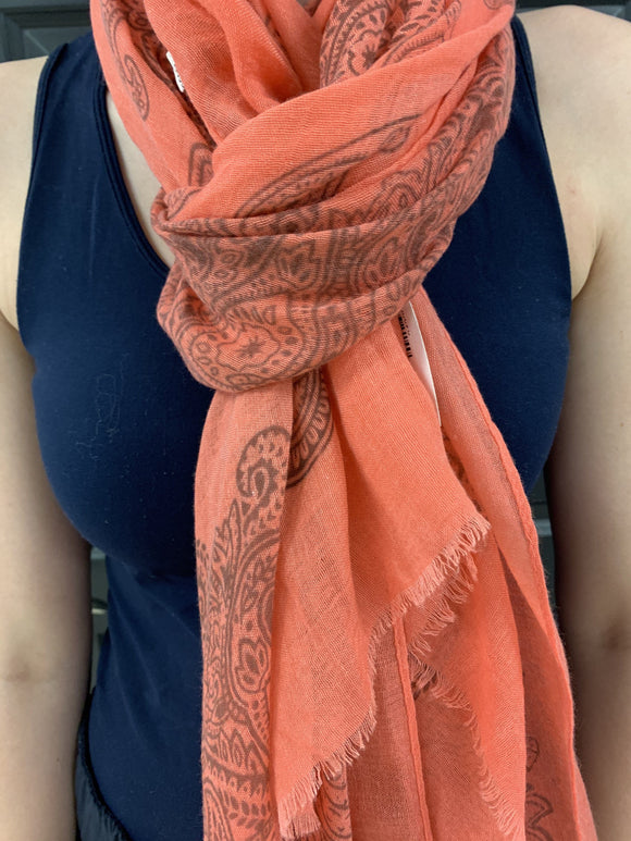 Coral Scarf with Paisley Design Scarf