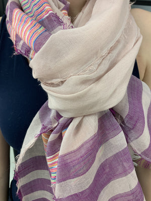 Light Pink Scarf with Purple Stripes