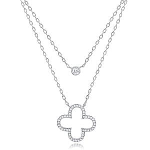 Supreme Silver Clover Layered Necklace NTZ118-S