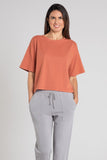 Mododoc 1/2 Sleeve Oversized Boxy Tee in Red Jasper - 47A-96204