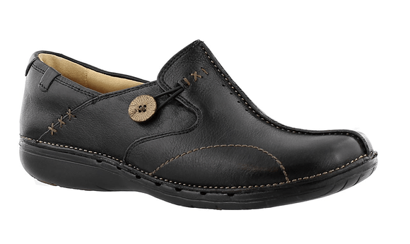 Clarks Un Loop Black Leather Shoes #85071 Shoe