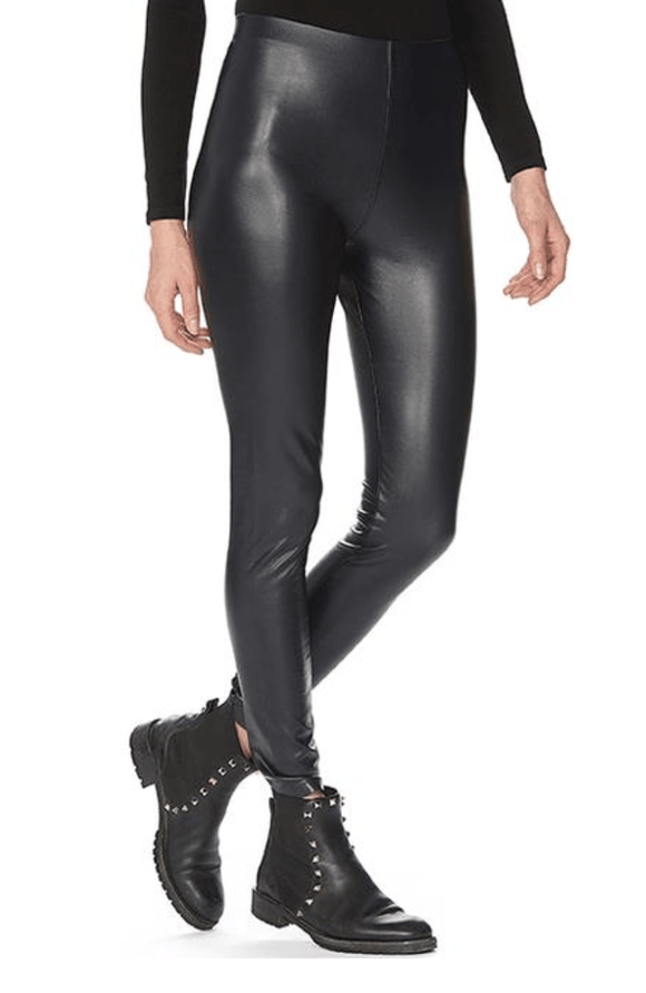 HUE Leatherette High Rise Leggings Black -21880 Leggings