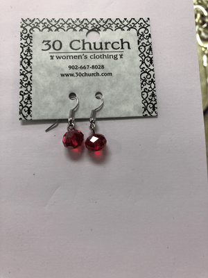 Simple Red Bead Earring