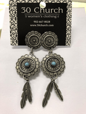 Pewter and Teal Dream Catcher Earrings