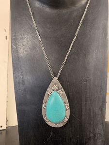 JJ Designs Long Silver Necklace with Turquoise Pendant Jewellery