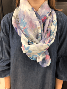 Lilac Water Coloured Flower Scarf Scarf