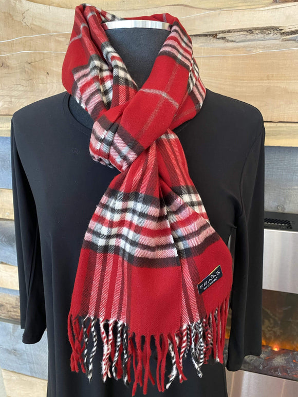 Fraas Cashmink® Plaid Scarf - Red  - 625391 361 Scarf