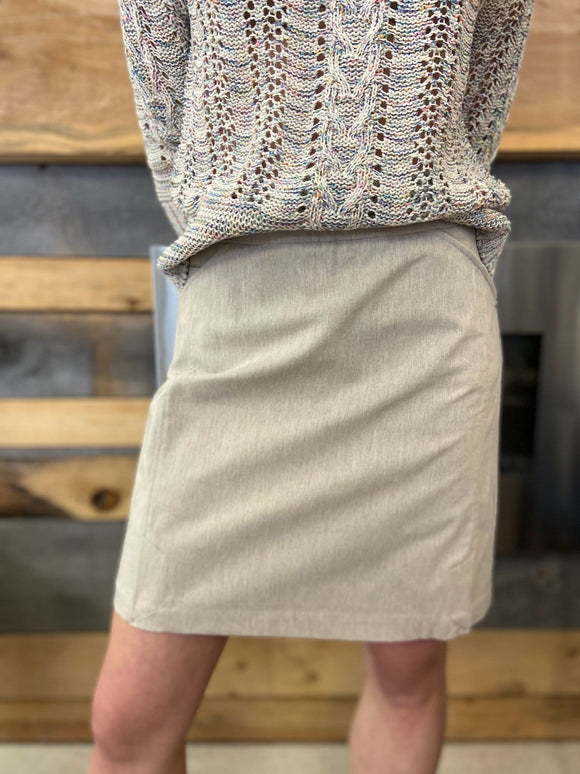 Tribal Heathered Pull-on Skort in Tan - 3284O 1827