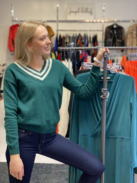 Garcia Green Pullover Sweater with Wool Stripes - J90240