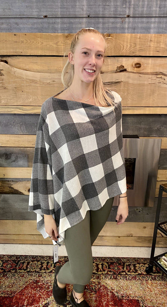 Tribal Poncho Cream Grey Plaid -36780 Poncho