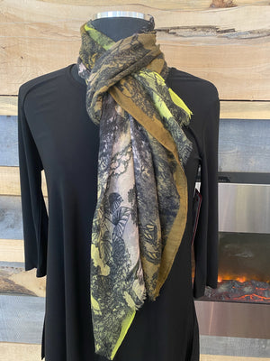 Fraas Light Floral Scarf - Lime - 602003 710