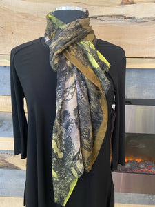 Fraas Light Floral Scarf - Lime - 602003 710 Scarf