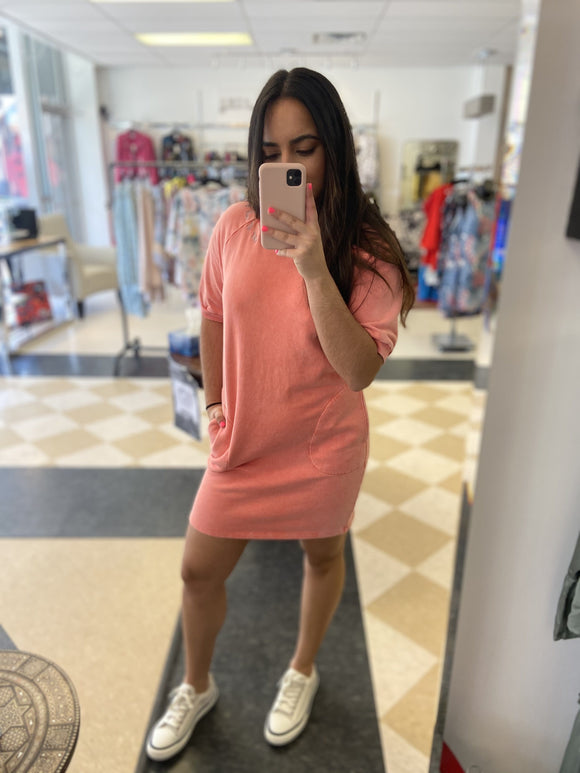 Mododoc Sweatshirt Dress in Glowing Coral - 41B-11131