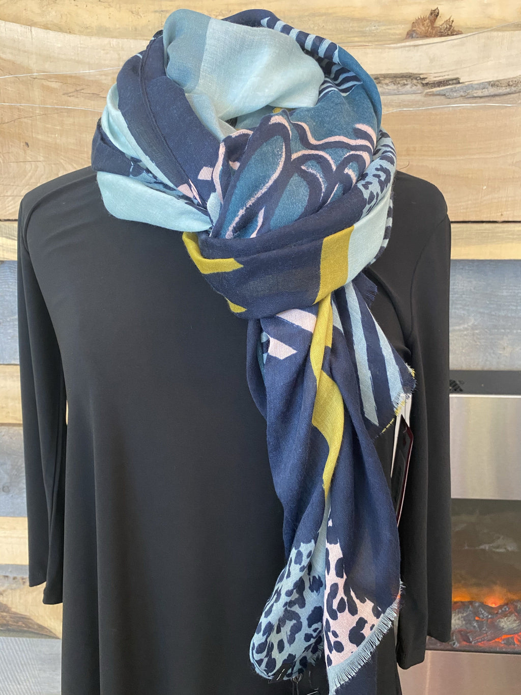 Fraas Light Pattern Mix Stole - Petrol - 602001 690