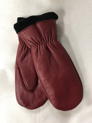Axessimo Ladies Leather Mitt/Glove Dark Red 50013