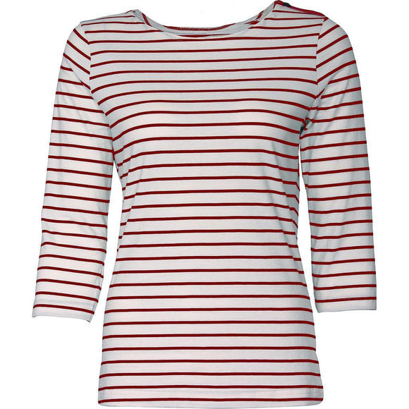 Océana Arseno Striped 3/4 Sleeve Sweater in White/Red- OC4001W