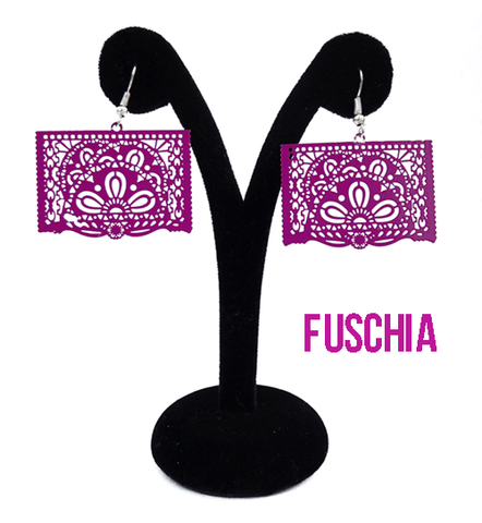 "Papel Picado Earrings, ""Ala"", Fuschia"