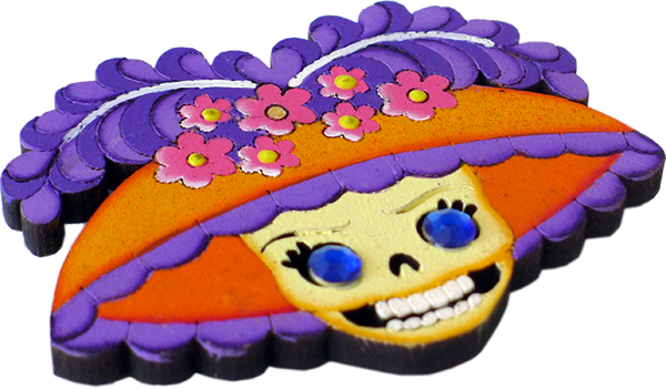 Catrina Wooden Magnet, side view