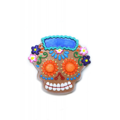 """Flores"" Skull Clay Magnet"