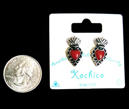 Mini Sacred Heart style Stud earrings