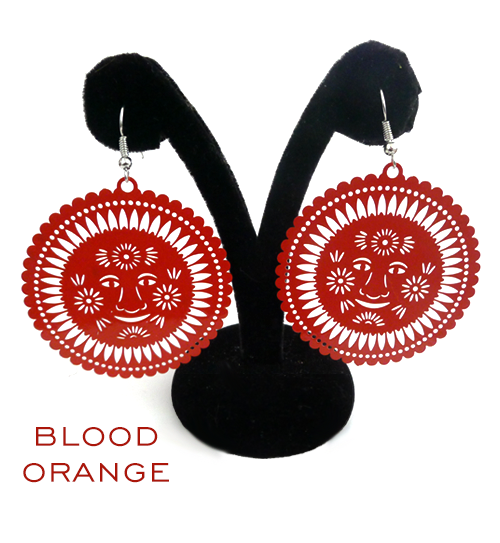 Papel Picado Earrings, Sol, Blood Orange