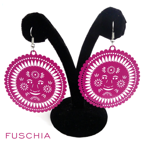 Papel Picado Earrings, Sol, Fuschia
