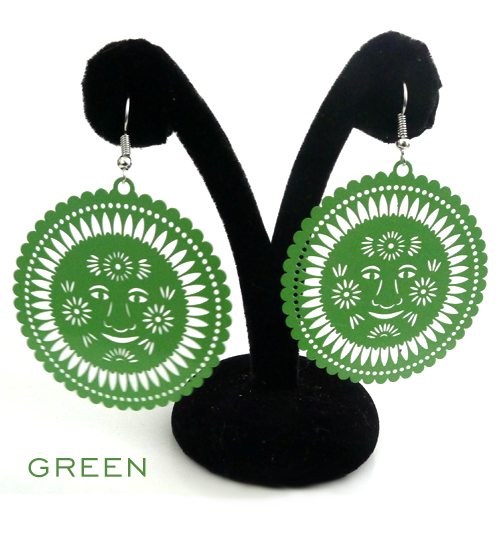 Papel Picado Earrings, Sol, Green