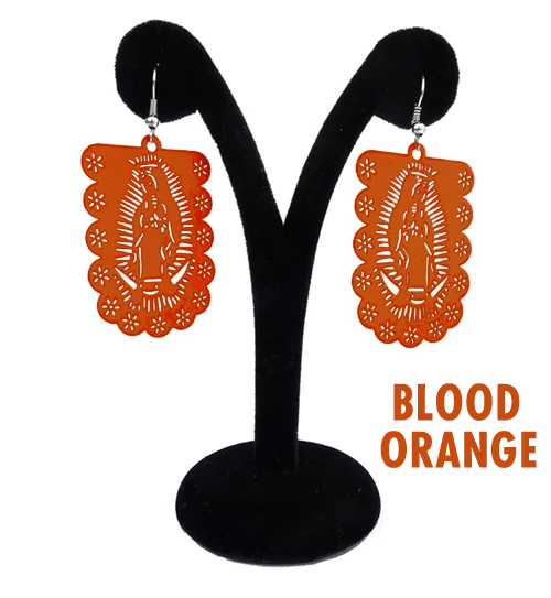 "Papel Picado ""Virgen"" earrings, Blood Orange"