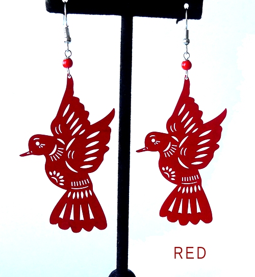 "Papel picado earrings, ""Palomas"" Red"
