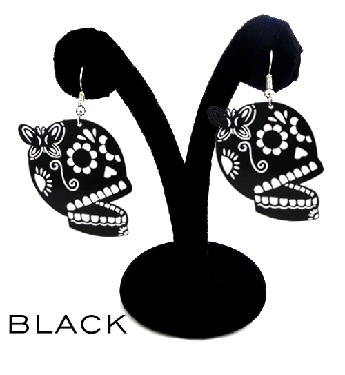 "Papel Picado style ""Butterfly Skull"" earrings, Black"