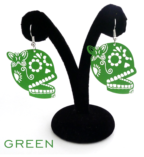 "Papel Picado style ""Butterfly Skull"" earrings, Green"