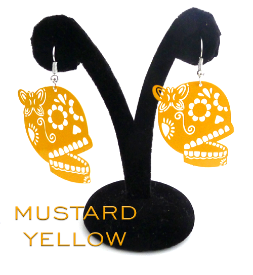 "Papel Picado style ""Butterfly Skull"" earrings, Mustard Yellow"