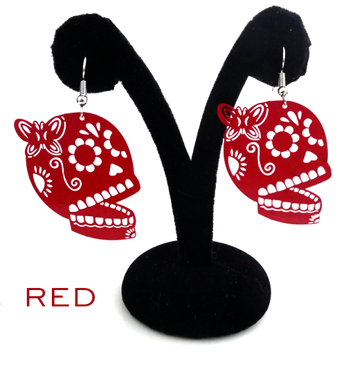 "Papel Picado style ""Butterfly Skull"" earrings, Red"