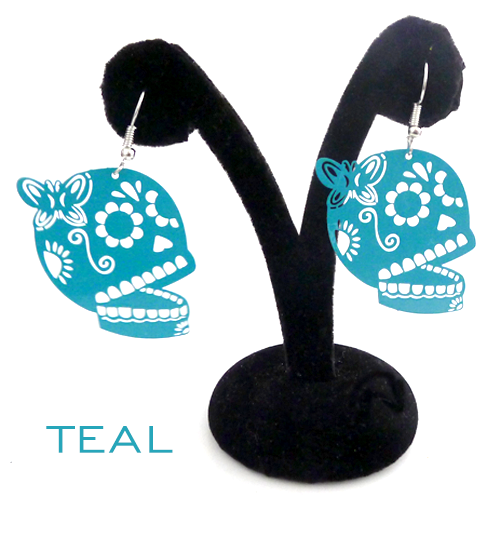 "Papel Picado style ""Butterfly Skull"" earrings, Teal"