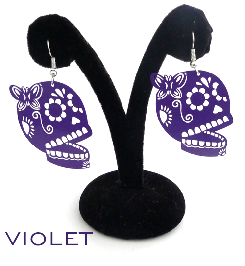 "Papel Picado style ""Butterfly Skull"" earrings, Violet"