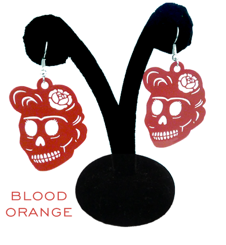 "Papel Picado ""Florecita Skull"" earrings, Blood Orange"