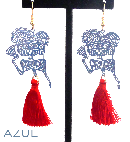 "Papel picado style tassel earrings, ""Catrina"", Azul + Red"