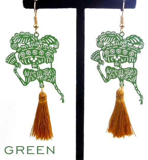 "Papel picado style tassel earrings, ""Catrina"", Green + Gold"
