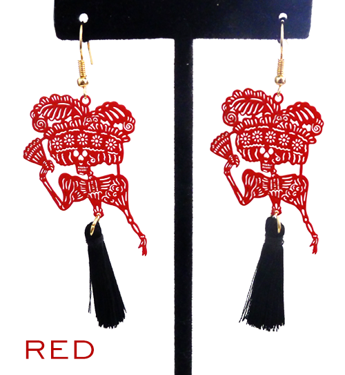 "Papel picado style tassel earrings, ""Catrina"", Red + Black"