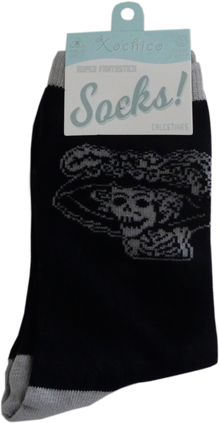Posada Catrina knit crew socks, front pack view