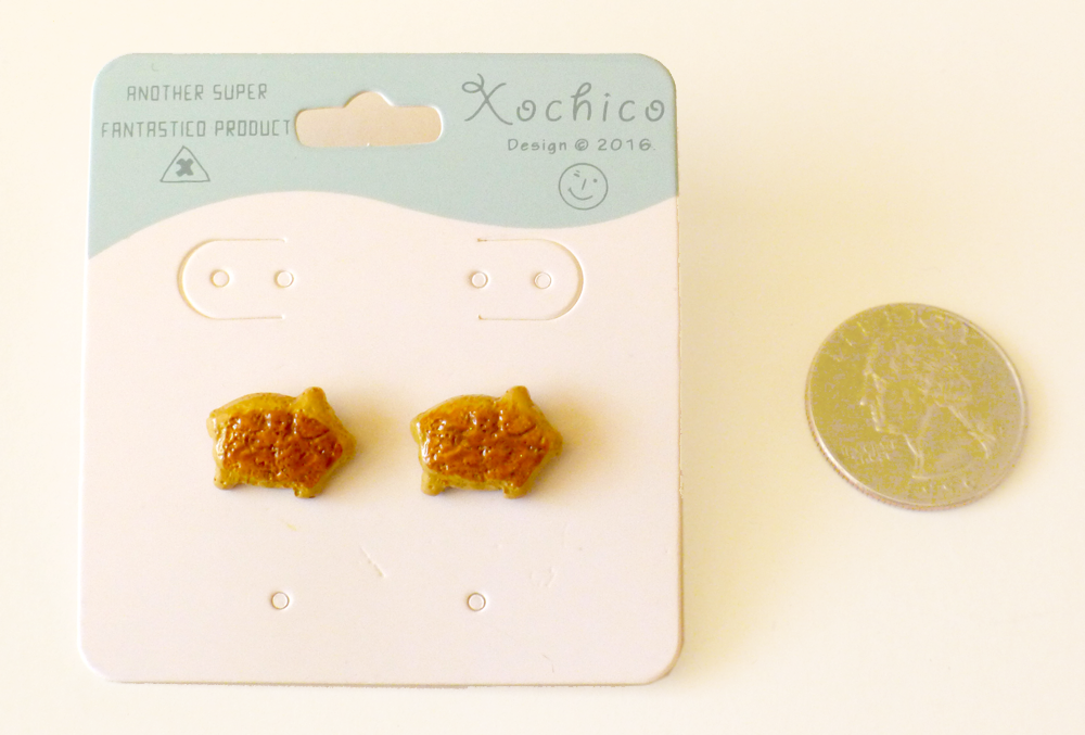 Pan Dulce stud earrings, Pig