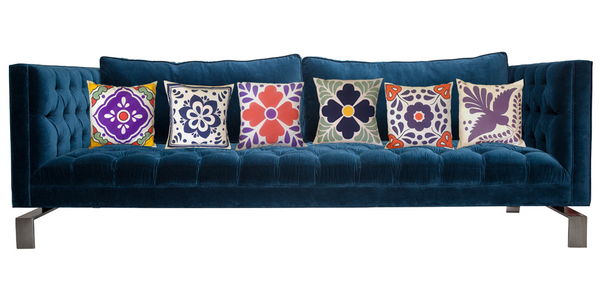 Mexican Talavera tile sofa cushion