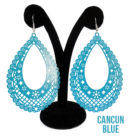 "Papel Picado Earrings, ""Teardrop"", Cancun Blue"