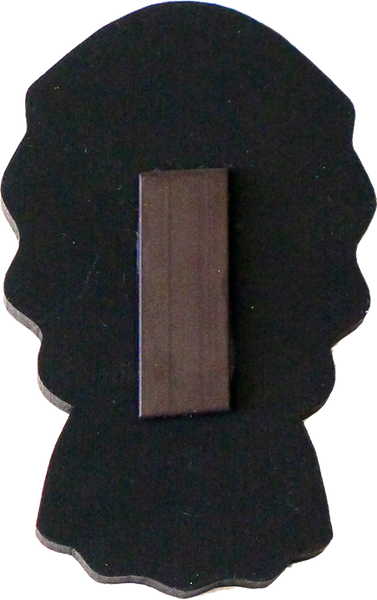 Tehuana wooden magnet, back view