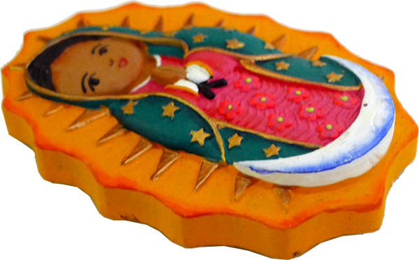 Virgencita clay magnet, side view