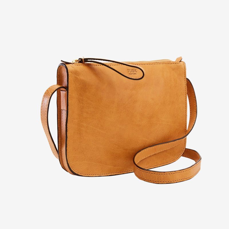 tusk-9902-womens-leather-small-cross-body-top-zip-bag-camel-side